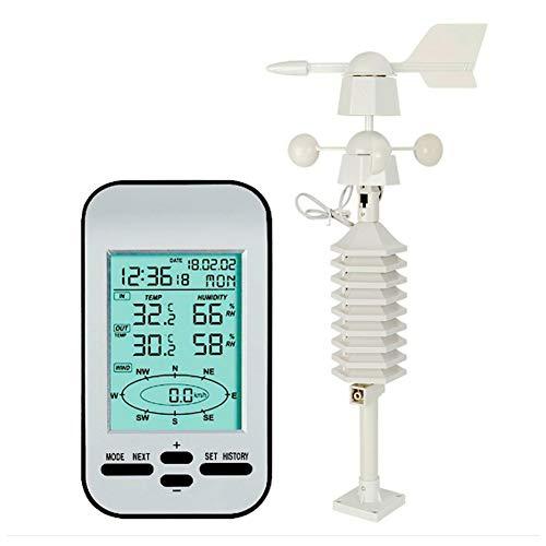 SYue Drahtlose Wetterstation, Drahtloser Temperatur-Luftfeuchtigkeits-Monitor Für Innen- Und Außenthermometer Mit Wettervorhersage Windgeschwindigkeitserkennung
