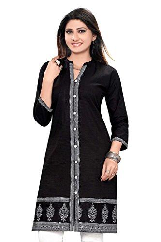 SATRAT's Women Girls Casual Regular Long Knee Length Black Cotton Achkan Style...