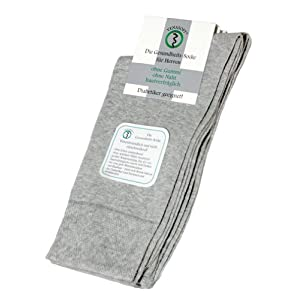 Venasoft 2 Paar Herren Diabetiker Socken aus ÖkoTex Baumwolle, silber, Gr. 47-50