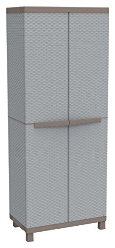 Terry Armario alto doble puerta 3estantes ajustables Serie c-rattan 68x 39x 170cm Gris/Pardo 2680
