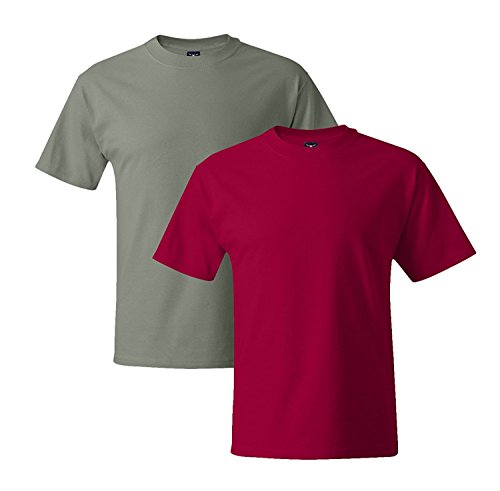 Hanes Mens 5180 Short Sleeve Beefy T 1 Deep Red / 1 Stonewash Green