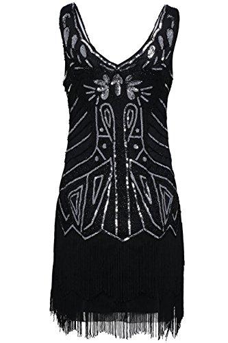 Babeyond Damen Kleid 20er Stil V Ausschnitt mit Troddel Inspiriert von Great Gatsby Kostüm Kleid Schwarz