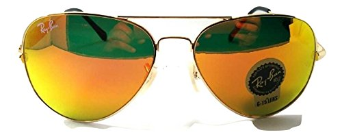 Ray-Ban RB3517 62/14/138 Aviator Non-Polarized Sunglasses, Golden Frame Medium size Orange-Red Color Mirrored Lens, 62mm  available at amazon for Rs.4500
