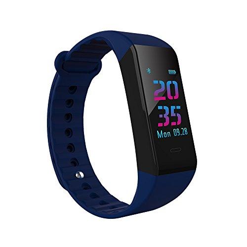 LE Outdoor-Uhr Fitness Tracker Wasserdichte Uhr Smart Armband Schrittzähler W6s Multi-Sport-Modus Herzfrequenz-Überwachung Farb-Bildschirm Blutdruckmessgerät Bluetooth,A