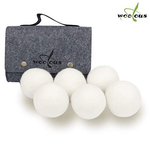 Woolous 6 Trocknerbälle aus 100{75a451cca13af9efacbb3fdc45de5fa6a859ca0f0cf08c6f796c4e01d22a6f9a} Schafwolle - Der Natürliche Weichspüler für Wäschetrockner - Trockner Ball für Daunenjacke - Filzbälle und Trocknerkugeln - Zubehör für Wäsche gegen Fussel