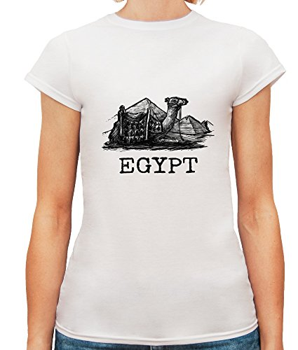 Mesdames T-Shirt avec Hand Drawn Egyptian Pyramids with Camel Illustration imprimé. Blanc