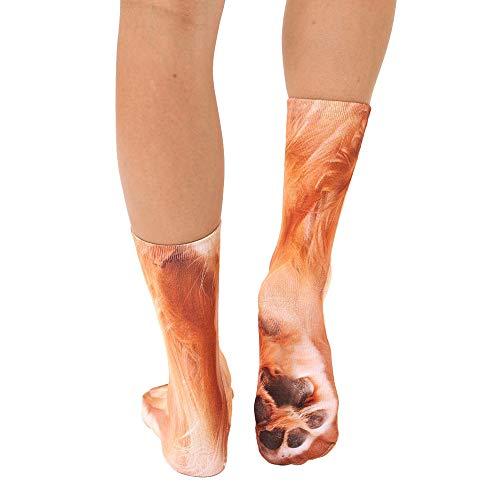 Frauen Stricken Am Bund (Yazidan Lustige Unisex Erwachsene Elastische Socke Tierpfote Füße Crew 3D Print Fuß Socken lustige Nette Haustier-Hunde, die Karikatur-Bonbon-Entwurf, Bequeme Baumwollmischungs-Boden-Socken)