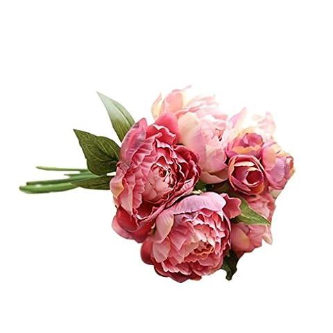Fleurs artificielles, Oyeden Bouquet de pivoines artificielles en soie Décoration pour fêtes de mariage Artificielle Fleur En Papier DIY Décoration Maison Mariage Baptême Jardin (Poudre de Champagne)