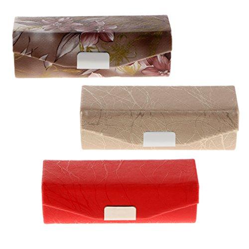 D DOLITY 3er Set Lippenstiftetui Lippenstiftbox mit Spiegel, Wunderschön und Praktisch Schminkkoffer mit Feines Design