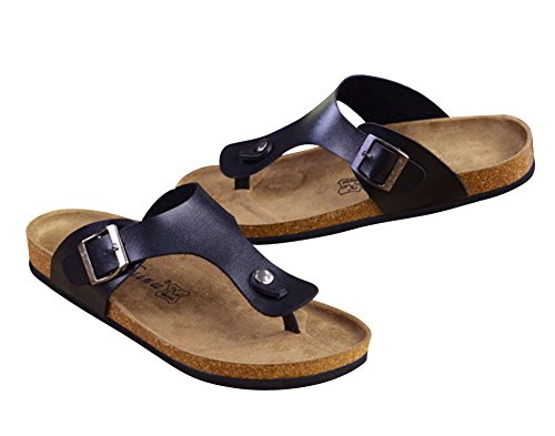 YipGrace Adultos Unisex Footbed De Corcho Chanclas Sandalias De Playa Parejas Sandalias Negro 38