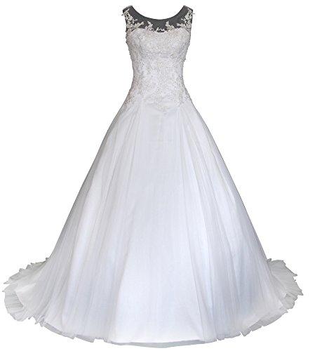 Romantic-Fashion Brautkleid Hochzeitskleid Weiß Modell W064 A-Linie Satin Stickerei Perlen...
