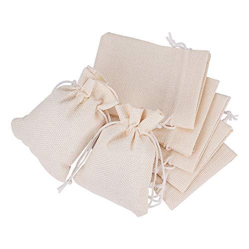 Benecreat 25 pcs sacchetti di tela con cordone sacchetti regalo sacchetto di gioielli per festa di matrimonio e fai-da-te 12x9cm crema