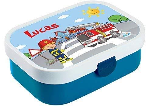 Mein Zwergenland Brotdose Mepal Campus mit Bento Box und Gabel mit eigenem Namen Feuerwehr (Blau)