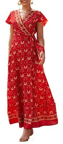 Leslady Robe Femme Eté Longue Imprimé Boheme Chic Soirée Robe Élégant Floral Robe Vintage pour Mariage Cocktail Plage Printemps (Large, Vin Rouge)