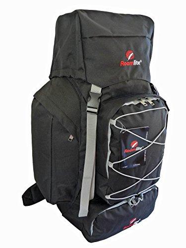 Extra L Rucksack Rucksack Camping Wandern Tasche 80 100 125 Liter Roamlite - Schwarz, 80 Litre Schwarz