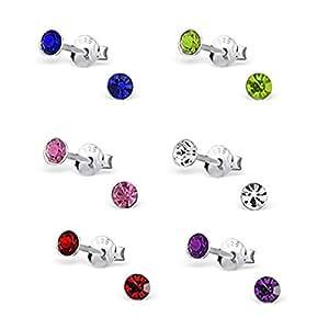 Katy Craig Lot de 6 paires de boucles d'oreilles à tige en argent sterling et cristaux Bleu/blanc/vert/rose/violet/rouge 4mm