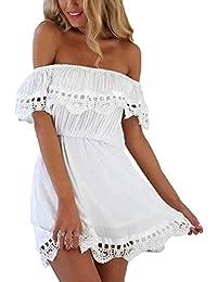 Auxo Femme Sexy Eté Sans Manche Creux Dentelle Mini Robe Clubwear Cocktail Plage Bustier Robe