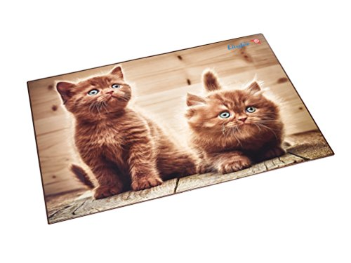 btischunterlage mit Motiv Neugierige Kätzchen, 40x53 cm, rutschfeste Schreibunterlage mit transparenter Seitentasche ()