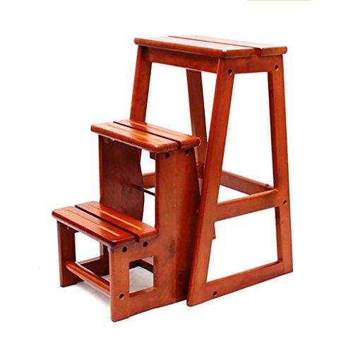 PENGFEI Pliable Stool Ladder Multifonction Usage Double Toutes Les Bois Massif Couleur De Miel, 38 * 56.5 * 64CM