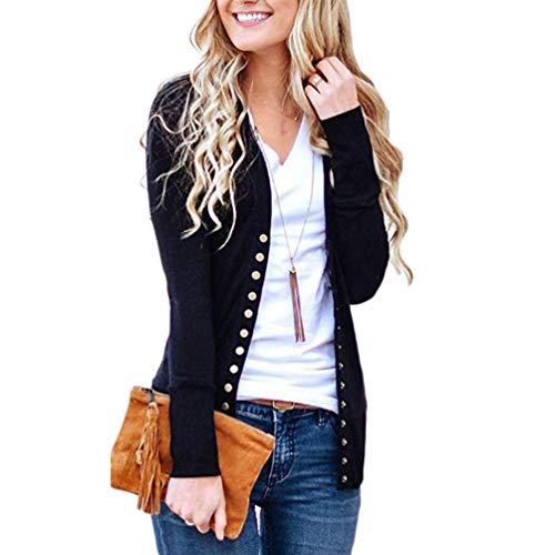 Cayuan cardigan a maglia donna manica lunga bottoni sottile coprispalle giacca tops casuale nero