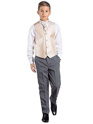 (Kostüm mit Weste und grauer Hose, für Jungen, formal, für Hochzeiten Gr. 3 Jahre, gold)