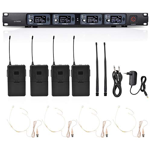 BTIHCEUOT Tragbares UHF-Funkmikrofon mit 1 bis 4 Audioausgängen und Clip-Revers-Headset-Empfänger für Bühnenperformance(615,9~664,2 MHz) 12-kanal-handheld-empfänger