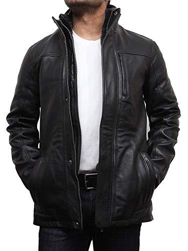 Motorrad Herren Leder Jacke Mantel (Brandslock Vintage Herren Leder Stilvolle Biker Parka Jacke Mantel Designer-Stil Jacke (XL, SCHWARZ))