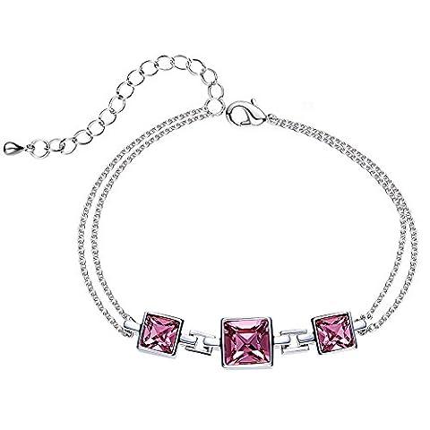 étoile Sands-sweet Time-bracelet pour femme avec cristaux carré Rose à partir de Swarovski-rhodium Plated-the amateur de cadeau pour femme fille