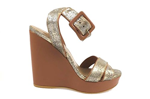 scarpe donna STUART WEITZMAN sandali oro pelle tessuto AP822 (35 EU)