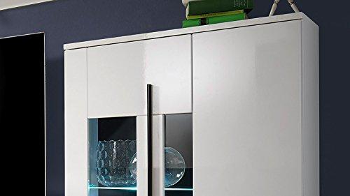 Wohnwand – Weiße Anbauwand mit LED-Beleuchtung kaufen  Bild 1*
