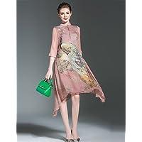 YFLTZ Vestido chifón Chic/Chinoiserie para Mujer - Animal Print, Rainbow, ...