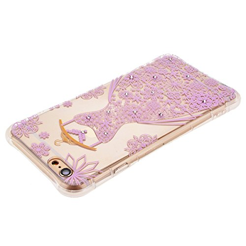 Case Cover per iPhone 6 Plus / 6S Plus (5.5 pollici), HB-Int 4 in 1 Pattern Chiaro Shell Custodia Trasparente Case Cristallo Design Caso Flessibile TPU Gel Caso Ultra Sottile Leggera Copertura Anti Gr Porpora Gonna