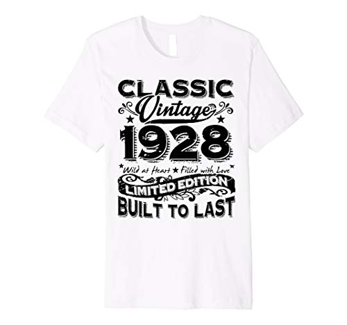 Vintage 1928 Best Gift 90 Years Old 90th Birthday T Shirt