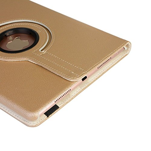 Apple iPad Mini 4 Leder Smart Ständer 360 Rotate Case Beutel (Gold)