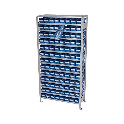 Rayonnage emboîtable avec bacs - hauteur rayonnage 2100 mm - rayonnage de base, profondeur 400 mm, 104 bacs bleus - armoire pour bacs à bec armoires pour bacs à bec bacs de stockage bacs pour rayonnages emboîtables conteneurs à visser rayonnage rayonnage