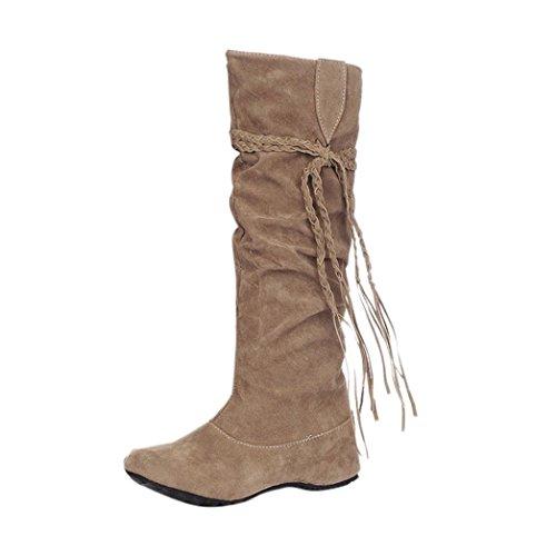hing Damen Quaste Stiefel in der Runde hoch in den hohen Stiefel Schuhe Erhöhen Sie Plattform Oberschenkel hohe Tessals Stiefel Motorrad Schuhe (43, Gelb) (Gelb Oberschenkel Hohe Stiefel)