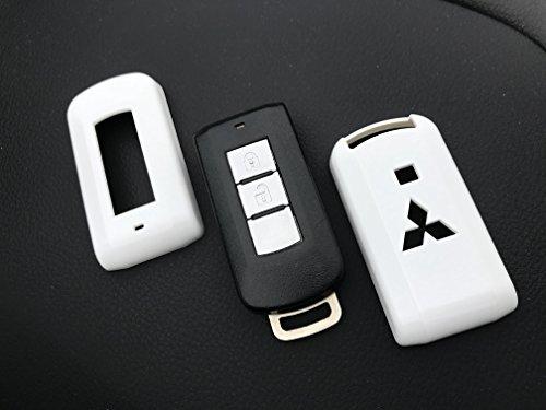 Kunststoffhülle für Autoschlüssel-Fernbedienung mit 2 oder 3 Tasten, Hochglanz-ABS, Hartplastik, glänzendes Weiß (Mitsubishi Krieger)