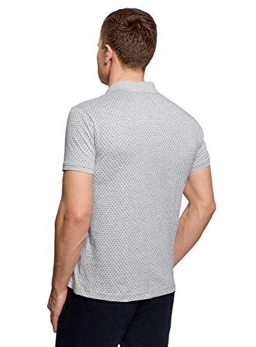 oodji Ultra Herren Gerades Bedrucktes Poloshirt Grau (2000M)