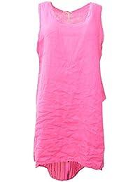 Frauen Italian Lagenlook Quirky Plain Front-Wrap-Over-und Streifen-Zurück Ärmel Leinen Zurück Tropfen Damen Tunika-Kleid