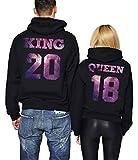 King Queen Hoodies Couple Sweatshirt Pärchenpullover Paar Pärchen Pullover 2 Stücke