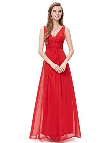 Ever-Pretty Robe de Soiree en Double V-col de Style Empire 40 Rouge