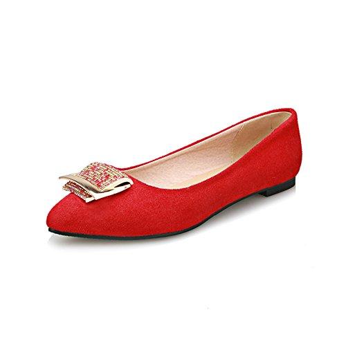 Koreanische Version des Spitzen flache Schuhe im Sommer Strass Schnalle Halbschuhe/Niedrige Schuhe Rhinestone-Quadrat Schnalle/Schwangere Frauenschuhe C