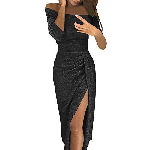 TU898TIE Frauen Schulterfrei Figurbetontes Kleid Mit Hohem Schlitz Langarm Kleider LäSsig Mode Lang Abendkleider Partykleid Lange Cocktailkleid