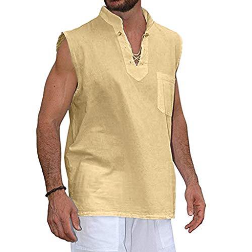 Tyoby Herren Sommer Mode Slim Casual Multicolor Baumwolle Leinen Ärmellos Revers Shirt Vintage Klassisch(Khaki,XXXL)