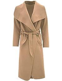 Islander Fashions Womens italiano lungo spolverino cappotto donna manica  lunga trench giacca con cintura francese One 60113efcf47
