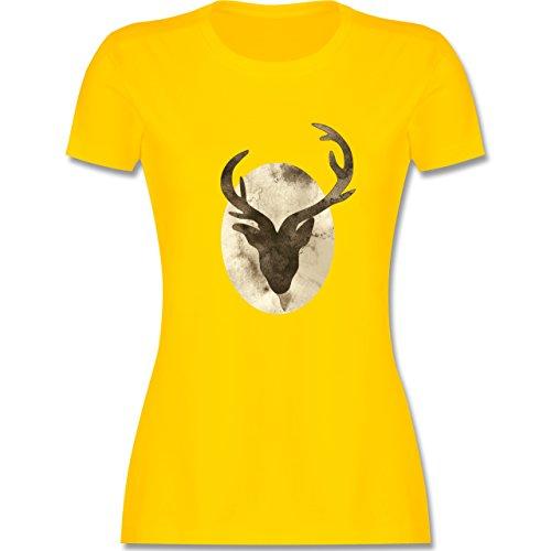 Wildnis - Hirsch - Aquarellsilhouette - tailliertes Premium T-Shirt mit  Rundhalsausschnitt für Damen Gelb
