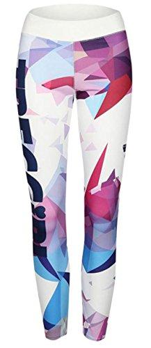 Lewi Brun - Damen Activ Sport Leggings, gut sitzende Yoga-Pants, Grafik-Print, S, Mehrfarbig