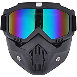 Madbike Masque de motocross à lunettes de protection détachables et filtre au niveau de la bouche, pour casques de style vintage, rainbow