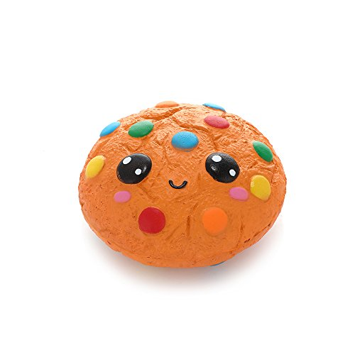 Anboor Squishies Chocolate Biscuit Emoji Kawaii Slow Steps Squeeze Toy Slow Rising Squishies Anti-Stress Toy for Kids Adults (11 * 11 * 5.5 cm, Sold as 1 Each -
