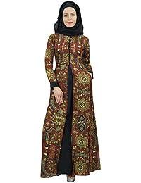 Bimba De Mujer De Manga Larga Vestido De Abaya Islámico Maxi Vestido Burka con El Hijab